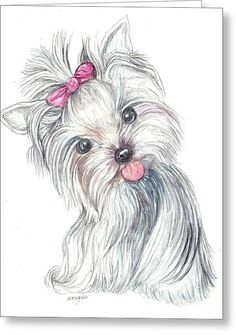 Yorkie Puppy Greeting Card by Morgan Fitzsimons