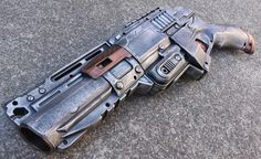 NOT FOR SALE Nerf Zombie Strike Sledgefire Pistol Mod- Apocalyptic, Zombie, Vampire, Cosplay, Steampunk -  (Pewter/Ruby)