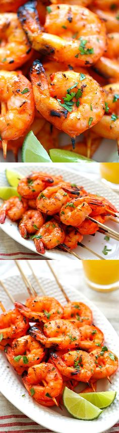 Tandoori Shrimp - perfectly marinated and grilled Indian Tandoori shrimp skewers. Super easy recipe that yields the most delicious shrimp ever (Tandoori Chicken Kabobs) Fish Recipes, Seafood Recipes, Indian Food Recipes, Asian Recipes, Cooking Recipes, Healthy Recipes, Indian Shrimp Recipes, Healthy Food, Snack Recipes