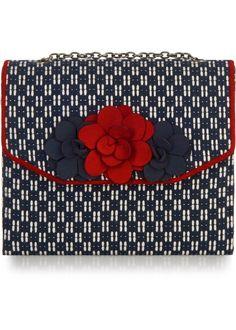 Ruby Shoo Oslo Box Handtas Donkerblauw met Rood