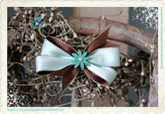 Brown & Blue Shimmer  Hair Bow by south4winter on Etsy, $5.00