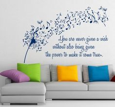 Wall Vinyl Decal Sticker Dandelion Music Quote Musical Notes Art Home Decor m414 #HEAD