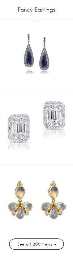 """Fancy Earrings"" by neeeea ❤ liked on Polyvore featuring jewelry, earrings, brincos, white, white diamond earrings, white sapphire earrings, 14k white gold earrings, white gold diamond earrings, white gold earrings and baguette earrings"