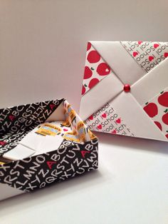 I love school pinwheel Origami Gift Box with apples, letters, and school bus patterns on Etsy, $5.00