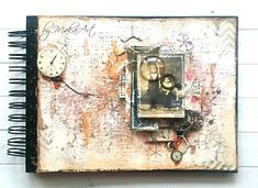 """My art journal cover """"Catch the time"""". I feel very honored to be a member of a group of 13 talented, creative ladies from Poland, Slovakia and Czech Republic who will exchange a. Journal Covers, Art Journal Pages, Art Journals, Art Journal Inspiration, Layout Inspiration, Journal Ideas, Mixed Media Tutorials, Mixed Media Artwork, Altered Art"""