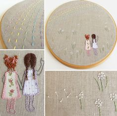 Embroidery Hoop Art - Cutesy Crafts   French knots make great curls, and for the braids, use a cross stitch.  The rainbow is a large running stitch and more french knots for the dandelions.  lazy daisy stitched bows and the ends of the braids