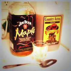 The Fall Warmer Microwave 1 cup of spiced Apple Cider then add 1-2 shots of Jim Beam Maple Bourbon.  This will warm your bones :)