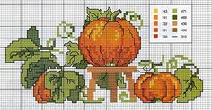Love this beautiful pumpkin cross stitch pattern. It's simple but warming. Fall Cross Stitch, Cross Stitch Kitchen, Cross Stitch Needles, Cross Stitch Samplers, Cross Stitch Kits, Cross Stitch Charts, Cross Stitch Designs, Cross Stitching, Cross Stitch Embroidery