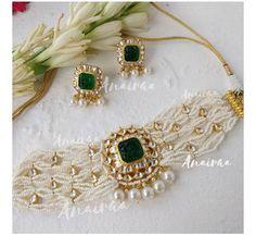 Antique Jewellery Designs, Fancy Jewellery, Gold Jewellery Design, Jewelry Design Earrings, Gold Earrings Designs, Necklace Designs, Indian Jewelry Sets, Indian Wedding Jewelry, Kundan Set