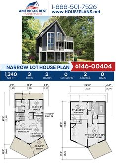 Plan 6146-00404 details a Narrow Lot home design with 1,340 sq. ft., 3 bedrooms, 2 bathrooms, a kitchen island, an open floor plan, and a sunroom. #narrowlot #narrowlothome #sunroom #architecture #houseplans #housedesign #homedesign #homedesigns #architecturalplans #newconstruction #floorplans #dreamhome #dreamhouseplans #abhouseplans #besthouseplans #newhome #newhouse #homesweethome #buildingahome #buildahome #residentialplans #residentialhome Narrow Lot House Plans, Best House Plans, Dream House Plans, Farmhouse Plans, City Living, Open Floor, Square Feet, Fun Ideas, My House