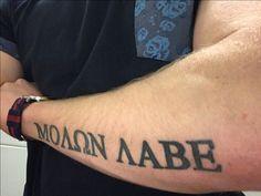 Future Tattoos, Tattoos For Guys, Molon Labe Tattoo, Spartan Helmet Tattoo, Mens Arrow Tattoo, Cool Forearm Tattoos, Tattoo Art, Sleeve Tattoos, Art Work