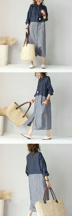 Women retro style stripe stitching mixed color cardigan linen shirt dress with…
