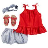 Beat the heat in eyelet peplum and ruffles. Knotted headwrap and strappy sandals complete this star spangled style.