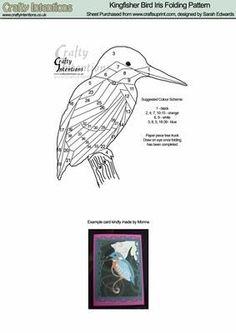 Kingfisher Bird Iris Folding Pattern on Craftsuprint designed by Sarah Edwards - Kingfisher Bird Iris Folding Pattern - Now available for download!