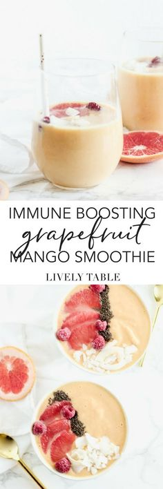 Give your immune system a little boost this winter with this nutrient-packed immune boosting grapefruit mango smoothie with turmeric. Great for a quick breakfast or snack! (#glutenfree, #vegetarian, #vegan option)   sponsored   #smoothie #grapefruit #immunity #flufighting #turmeric #mango #healthy