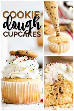 Delicious homemade cookie filled vanilla cupcakes are the perfect sweet treat. A rich chocolate chip filled dough makes the best filling for a yummy fresh cupcake. Topped with sweet frosting everyone will love them. Just Desserts, Delicious Desserts, Yummy Food, Delicious Cupcakes, Food Cakes, Cupcake Cakes, Cookie Dough Cupcakes, Cookie Dough Frosting, Vanille Cupcakes