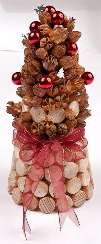 decoraciones de Navidad con materiales naturales y reciclados