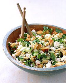 Pita-Bread Salad with Cucumber, Mint, and Feta