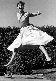 "This is Audrey Hepburn in part of a series of photographs called ""Jump"" by Philippe Halsman in 1959."