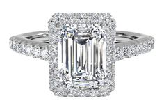 Emerald Cut Diamond Halo Engagement Ring with French-Set Diamond Band, in 14kt White Gold