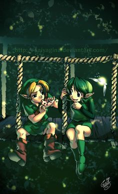 The Legend of Zelda: Ocarina of Time, Link and Saria / Friendship by SaiyaGina on deviantART