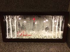 "Christmas shadow box, but change ""Believe"" to ""Merry Christmas"" Noel Christmas, Rustic Christmas, Winter Christmas, All Things Christmas, Christmas Ornaments, Christmas Projects, Holiday Crafts, Christmas Ideas, Christmas Shadow Boxes"