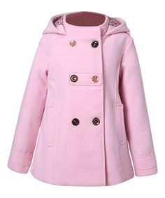 Look what I found on #zulily! Pink Hooded Pleated Peacoat - Toddler & Girls by Richie House #zulilyfinds