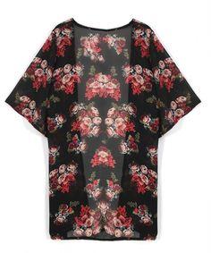 2016 Hot Sale Verão Mulheres Floral Impresso Chiffon Kimono Cardigan Xale…