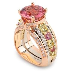 4.56ct Mixed cut peach Tourmaline with Garnets and Diamonds. Set in 18K Rose, White and Green Gold(via ♥ pink& gold ♥)