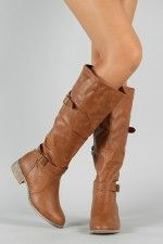 Olympia-03 Buckle Round Toe Riding Knee High Boot - nothing on this website over $40