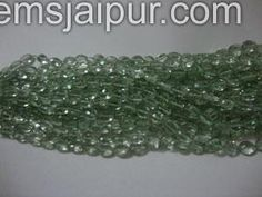 Green Amethyst Faceted Oval Gemstone Beads.