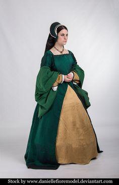 Green Tudor stock 2 by DanielleFiore on DeviantArt Tudor Dress, Medieval Dress, Tudor Fashion, Renaissance Fashion, Tudor Costumes, Period Costumes, Colleen Atwood, Renaissance Fair Costume, Costumes For Women