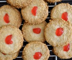 Coconut features heavily in traybake recipes.  Glacé cherries feature heavily in traybake recipes.  And this recipe has both! These cookies were simple and easy to make and when baked they had a nice crunch and weren't too sweet. And yet another recipe that required a bit of guesswork on my part.  The recipe simply stated …