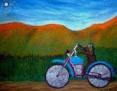 Nalles nya motorcykel, pastell på papper. Nalle's new motorcycle, pastel on paper.