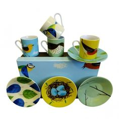 Magpie Birdy Espresso Cups and Saucers Set of 4 : Robin, Thrush, Wagtail & Blue Tit