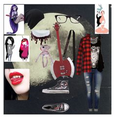 """Marceline talking to the moon"" by metaphoricalwhore ❤ liked on Polyvore featuring Børn, Mavi, 2Star, Dondup, Hot Topic, Ray-Ban, marceline, adventuretime and vampire"