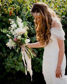 Wildwood Floral Co - boho wedding, bridal bouquet, bridal crown, cradle bouquet, cafe au lait dahlias, protea