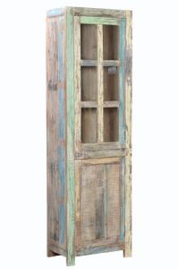Beautiful OC129 Old Wood Tall Narrow Glass Door Cabinet Detail Page