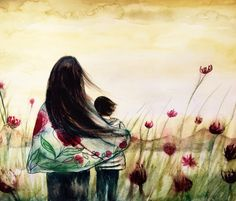Mother and son mountain view..claudia tremblay watercolor