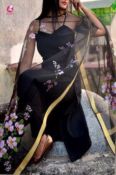 Buy Black Organza Handpainted Floral Stoles Online in India Salwar Designs, Kurta Designs Women, Kurti Designs Party Wear, Designer Kurtis, Indian Designer Suits, Indian Attire, Indian Wear, Indian Outfits, New York Fashion
