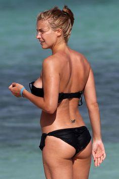 Gemma Atkinson Reaches Aruba With Her Bikini On But Straps Off