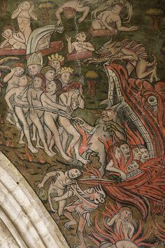 More detail from the Last Judgement (the doom painting) in the church of St Thomas, Salisbury.