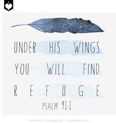 Psalm 91 Bible Verse Scripture Art Poster Printable Under His Wings Feather Illustration