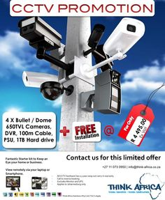 Stay connected over this festive season and keep an eye on your home or business whilst travelling. Take advantage of this limited CCTV promotion below for only R4495.00 ex vat - T&C's Apply - Contact us - info@think-africa.co.za