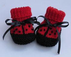 Cute New Baby handknit Lady Bug Baby Booties. $19.00, via Etsy. #handmade