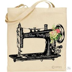 Sew Pretty Antique Sewing Machine with Vintage Roses LARGE Digital Image Download Sheet Transfer To Totes Pillows Tea Towels Shirts