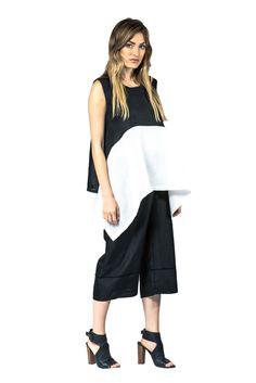 Colorblock Linen Top