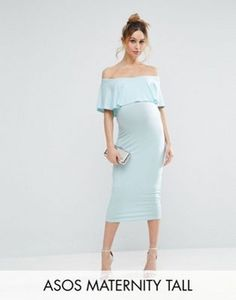 ASOS Maternity TALL Midi Bardot Pencil Dress With Ruffle
