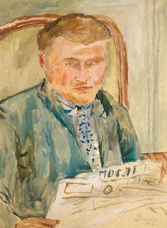 IVAN PUNI DIT JEAN POUGNY (1894-1956) PORTRAIT DE BORIS SCHEGOLEFF, 1927 Gouache et cray