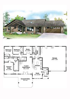 I love the front ❤️ Prairie House Plan 2086 Ranch House Plans, Best House Plans, Dream House Plans, Small House Plans, House Floor Plans, Building Plans, Building A House, Prairie House, European House Plans